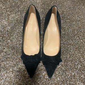 Suede Black Pointed Toe Heels